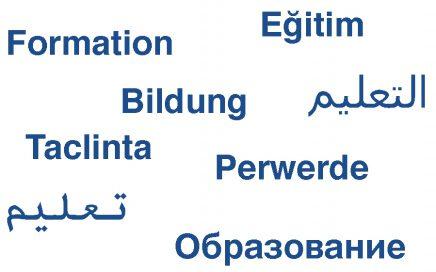 Bild mit dem Wort Bildung in mehrenren Spraachen