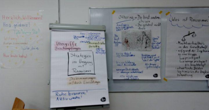 Wochen gegen Rassimus im Haus Vielinbusch - diverse beschriftete Flipcharts