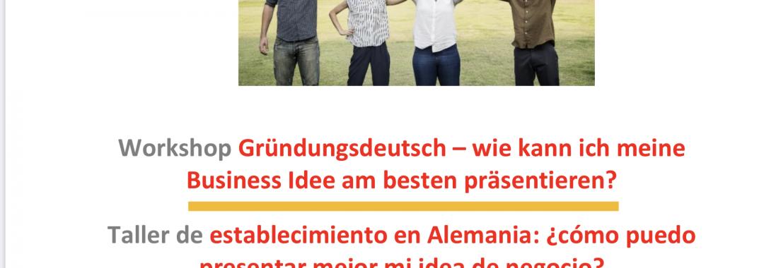 Titel in drei Sprachen Werkstatt Gründungsdeutsch