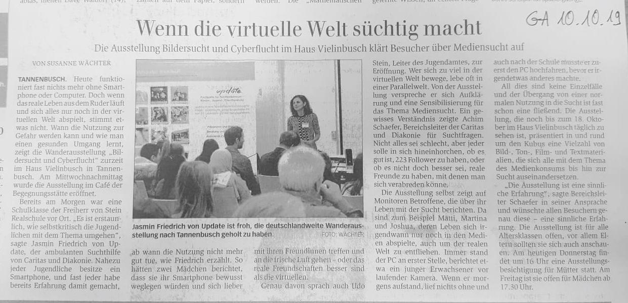 Artikel GA vom 10.10.19 Ausstellung Bildersucht und Cyberflucht Haus Vielinbusch Bonn